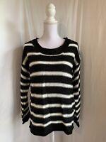 Rebecca Malone Women's Size Large Black White Striped Boat Neck Sweater NWT