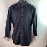 Robert Graham Mens Button Front Shirt Black Paisley Long Sleeve Cotton L