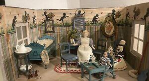 Antique German Wooden Nursery Room Box W/ German Dolls & Furniture!!