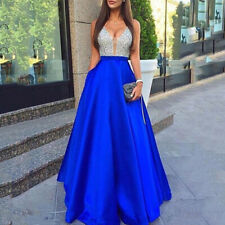 Women Sequins Formal Long Evening Party Dress Prom Ball Gown Bridesmaids Dresses