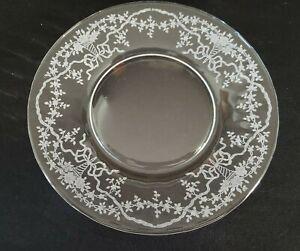 "Set of 8 ~ Fostoria Corsage Crystal Etched 7 1/2"" Plates Salad Lunch Dessert"