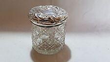 Sterling silver & clear hobnail glass vintage Victorian antique pot jar box