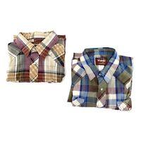Wrangler Lot of 2 Mens 2XL Big Man Short Sleeve Plaid Western Pearl Snap Shirt