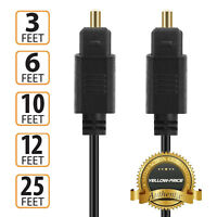 3ft 6ft 10ft 12ft 24K Gold Plated Toslink Digital Optical Audio Cable -US