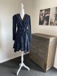 Zimmermann 0 Mancur Frill- Trimmed Silk Wrap Dress Navy Blue Size 0