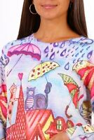 Rooftop Cats Pattern Oversized Jumper Pullover 10 12 14 16 80s 90s Y2K BNWT