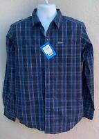 Columbia Mens Vapor Ridge III Blue Plaid Shirt Long Sleeve Button Front Small S