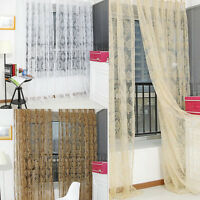 Floral Tulle Window Door Curtain Drape Panel Sheer Scarf Valance Voile Balcony