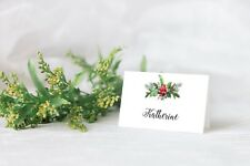 10 Personalised Christmas place card table names HOLLY BOUQUET PINE BERRY Xmas