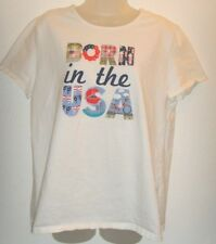 Women's XL white 'born in the USA' tee shirt (Holiday Editions)