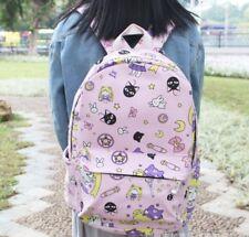 """Sailor moon pink canvas backpack shoulder bag 15"""" anime school travelling bag"""