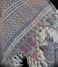 Elegant Hand Woven Ikat Cotton & Beaded Butterflies Scarf Rebozo / Shawl Mexico