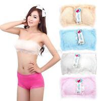 Lady Seamless Stretch Strapless Lace Boob Tube Top Padded Bandeau Sport Bra B46