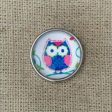 Noosa style chunk snap for leather bracelet -Little owl-pink blue