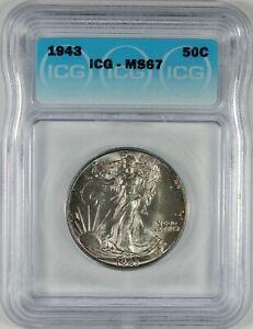 1943 50c Walking Liberty Silver Half Dollar ICG MS67