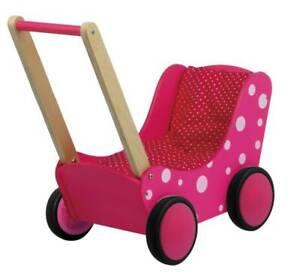 Puppenwagen Lauflernwagen aus Holz, pink & dots mit Garnitur und Gummiräder 0117