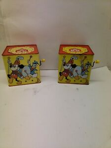 2 Vintage Carnival, Mickey Mouse Jack-n-Box's, 1950's