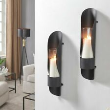 Modern Industrial Set of 2 Black Metal Wall Sconces Candle Holders Decor