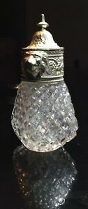 Vintage Heavy Glass Crystal Sugar Shaker with Silver Plate Lion Top