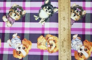 100% Cotton Woven Fabric Purple Plaid Dog Yorkshire Terrier By the 1/4 Yard
