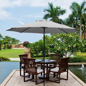2.7M Round Garden Parasol Sun Shade Patio Outdoor Umbrella with Crank Tilt UK
