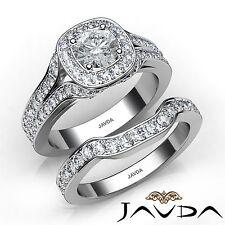 2.61ct Round Diamond Engagement Halo Bridal Set Ring GIA F VVS2 14k White Gold
