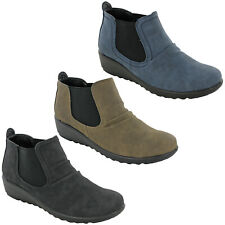 Cushion Walk Chelsea Boots Womens Low Ankle Twin Gusset Fashion Soft Shoes