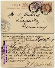GB STATIONERY + LATE FEE UPRATED POSTCARD to GERMANY 1/2d + 1d LILAC 1897 HARRIS