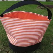 Orange & White Striped Halloween Bucket Bag Trick or Treat Reusable Candy Bag