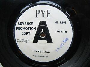 THE HONEYCOMBS It's So Hard/I Fell In Love Rare PYE Promo 1966