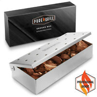 Stainless Steel BBQ Grill Smoker Box for Wood Chips, Hinged Lid, Smoking Meat