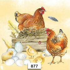 (877) TWO Individual Paper Luncheon Decoupage Napkin - CHICKENS HENS CHICKS NEST