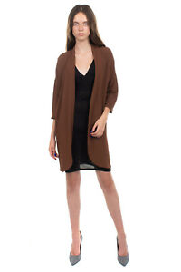 KAOS Crepe Shrug Size IT 40 / XS Brown 3/4 Sleeve Open Front Made in Italy
