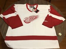 """Vintage Detroit Red Wings """"Shaggy"""" 1 Large White Nike Team NHL Hockey Jersey 90s"""