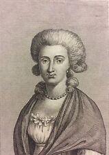 Élisabeth de France Soeur du roi Louis XVI gravure d'émigré C 1795 Très rare !