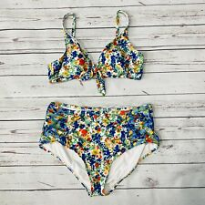 Anthropologie Boho Floral High Waist Bikini 2 pc Set L/XL Bralette White Blue