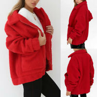 Women Winter Berber Fleece Fluffy Zipper Coat Fleece Fur Jacket Lapel Outerwear