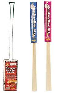 S'mores Campfire Roaster Maker Plus 12 Wooden Marshmallow Roasting Sticks