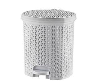11.5 Litre RATTAN White Pedal Bin Bathroom Waste Dustbin Kitchen Wicker Effect