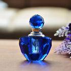 Blue Vintage Mini Crystal Cut Art Glass Perfume Bottle Refillable Empty Gift 2ml