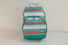 ROXY GIRLS WHITE/MULTI-COLOR STRIPED GRAPHIC SCHOOL / BOOK / TRAVEL / BACKPACK