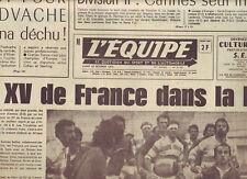journal  l'equipe 20/10/75 RUGBY FRANCE ARGENTINE BASKET