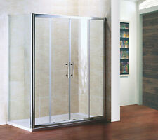 1500x700mm Sliding Shower Enclosure Screen Glass Cubicle Double Door+Side Panel