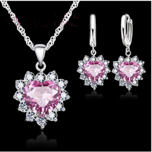 925 Sterling Silver Plated Heart Shape Pink Crystal Jewellery Sets.