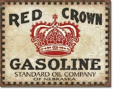 """16"""" X 12 1/2"""" Tin Sign Red Crown Gasoline Standard Oil Company Metal Sign New"""