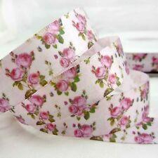 """5/8""""(16mm) Pink Elegant Flower Spring Satin Ribbon 2 Yard Craft Hair Bow"""