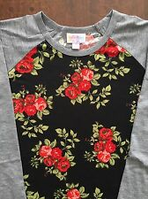 NEW LuLaRoe Gorgeous Red Rose Floral Black Gray Size Small Randy NWT