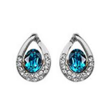 Turquoise White Gold Finish Omega-Back Stud Earrings Quality Jewellery UK boxed