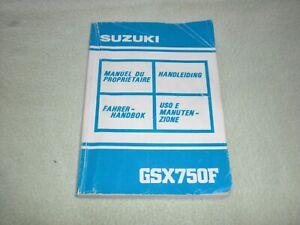 Suzuki GSX750F Fahrerhandbuch 1989 - Owners Manual - Bedienungsanleitung
