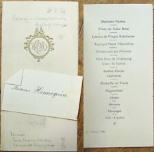 Menu: French 1933 w/Place/Name Card - Gold-Embossed Cover